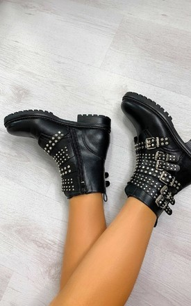 Kylie Buckle Studded Ankle Boots in Black by IKRUSH