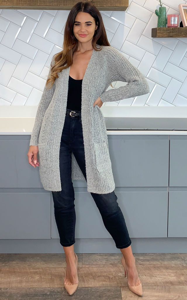 Longline Knitted Cardigan in Light Grey by ONLY