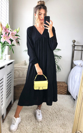 Oversized V Neck Midi Smock Long Sleeve Black Dress by Gini London Product photo
