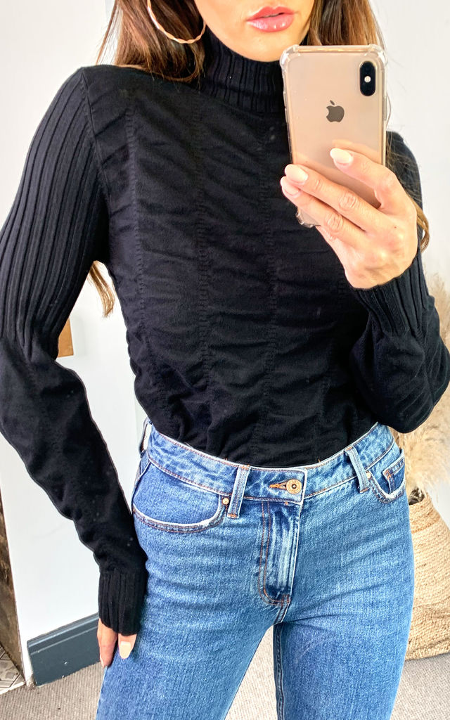Black ruched body long sleeve knitted top with ribbed roll neck by Off The Railz