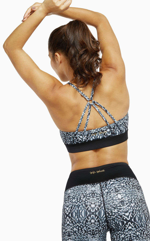 Abstract Print Sports Bra with Strappy Back by Wolf & Whistle