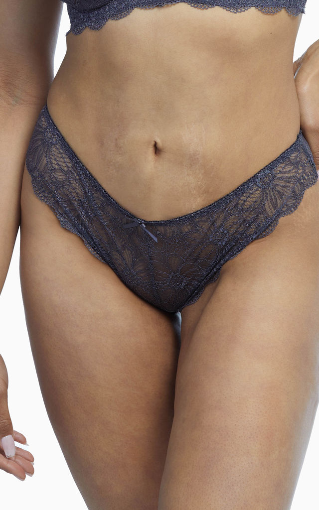 Wolf & Whistle Ariana Everyday Lace Brief Steel Grey by Wolf & Whistle