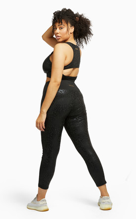 Wolf & Whistle Black Wet Look Leopard Back High Waist Leggings by Wolf & Whistle