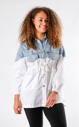 Hanna - Two Tone Distressed Denim Jacket In White by Pinstripe