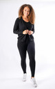 Leah - Knitted 3 Piece Soft Knit Loungewear In Black by Pinstripe