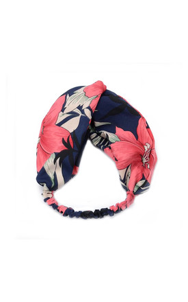Hair Band in Navy with Floral Print by White Leaf