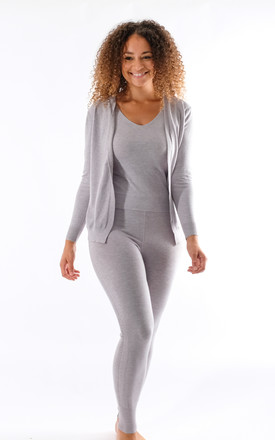Leah - Knitted 3 Piece Soft Knit Loungewear In Grey by Pinstripe