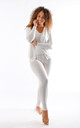 Leah - Knitted 3 Piece Soft Knit Loungewear In White by Pinstripe
