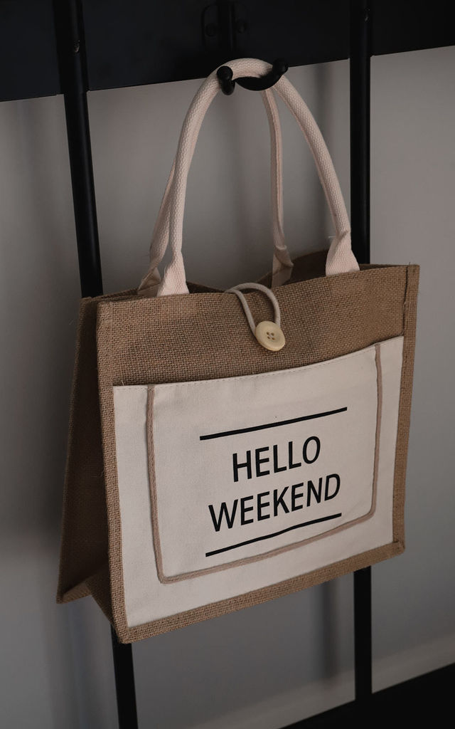 Hello Weekend Tote Bag Cream by Beauabea