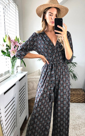 Retro Print Jumpsuit in Black by KURT MULLER