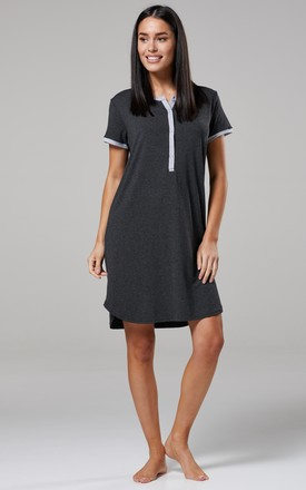 Women's Maternity Nursing Cut Out Nightshirt -Striped Nightdress Graphite Melange by Chelsea Clark