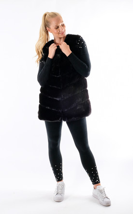 Mila - Panel Faux Fur Gilet In Black by Pinstripe
