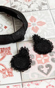 Black Raffia Headband & Round Honeymoon Earring Set by Farrow Low