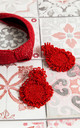 Red Raffi Headband & Round Honeymoon Earring Set by Farrow Low