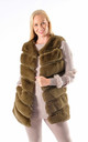 Mila - Panel Faux Fur Gilet In Olive Green by Pinstripe