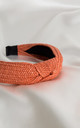 Orange Luxury Raffia Knotted Headband by Farrow Low