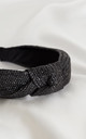 Black Luxury Raffia Knotted Headband by Farrow Low