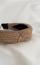 Beige Luxury Raffia Knotted Headband by Farrow Low