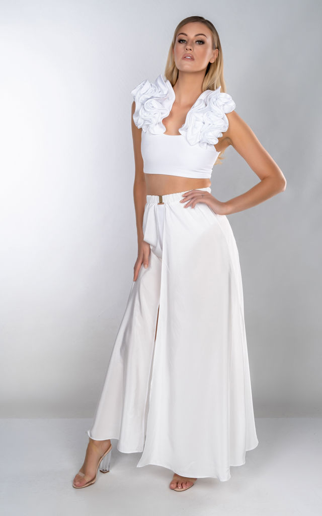 HEIDI WHITE SILK SATIN BUCKLE FRONT MAXI SKIRT by THE GLAMBASSADORS™ RESORTWEAR