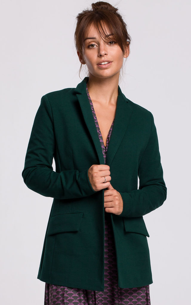 Green Blazer with Buckle on Belt by MOE