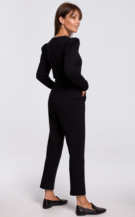 Black Jumpsuit with a Buckle Belt by MOE