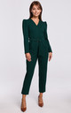 Green Jumpsuit with a Buckle Belt by MOE