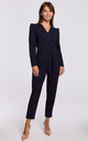 Navy Blue Jumpsuit with a Buckle Belt by MOE