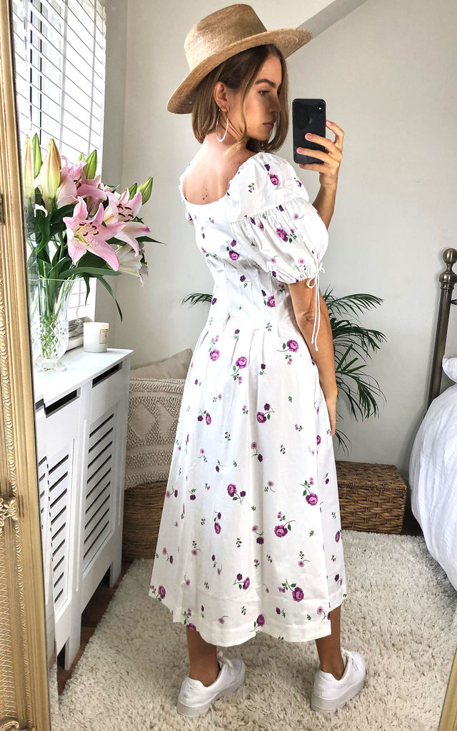 Violet Button Down Midi Dress in White Floral by For Love And Lemons
