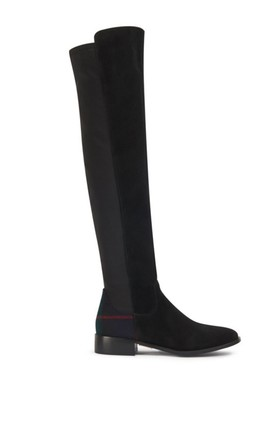 York Black Suede Over the knee Boots by Yull Shoes