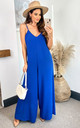 Sleeveless Culotte Jumpsuit in Royal Blue by HOXTON GAL