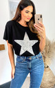 Sequin Star Top Relaxed Fit In Black by HOXTON GAL