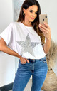 Sequin Star Top Relaxed Fit In White by HOXTON GAL