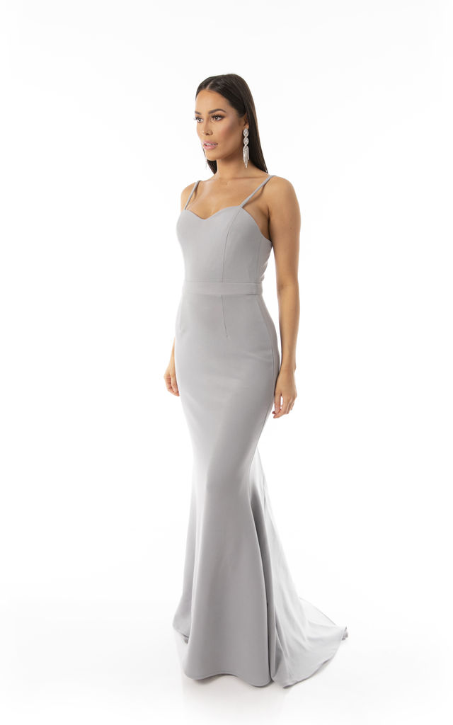Sweetheart Trail Fishtail Maxi Dress Dove Grey by Cristiano Couture London