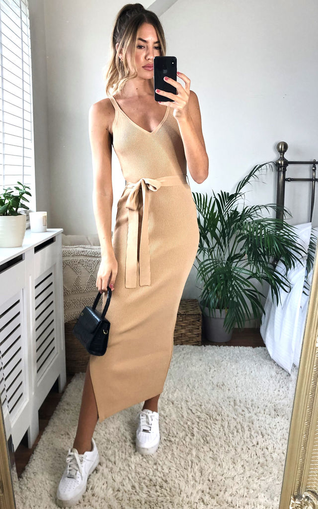V Neck Belted Midi Dress Camel by URBAN TOUCH