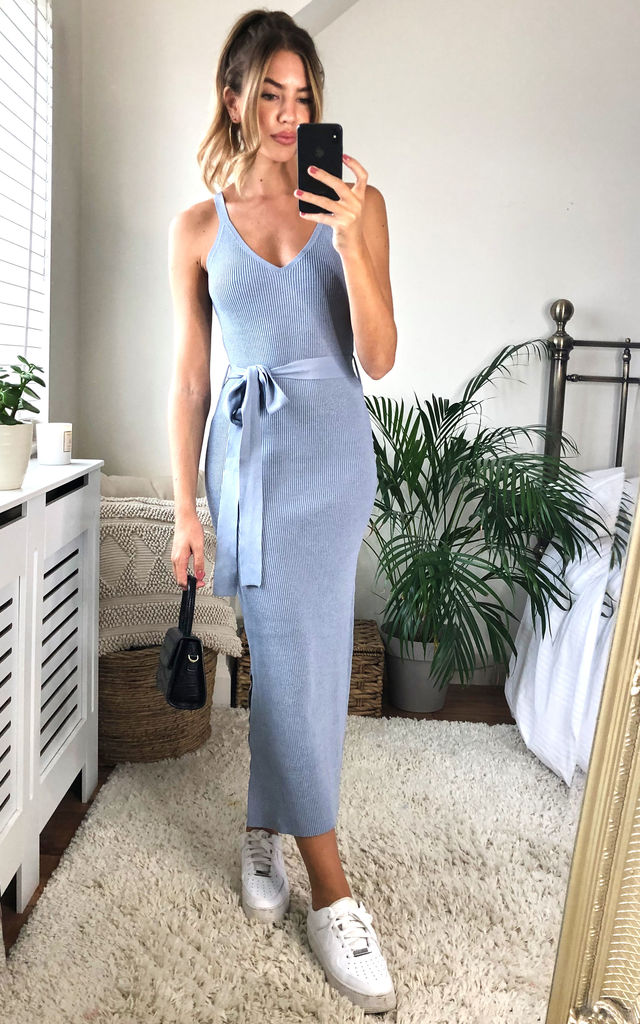 V Neck Belted Midi Dress Blue by URBAN TOUCH