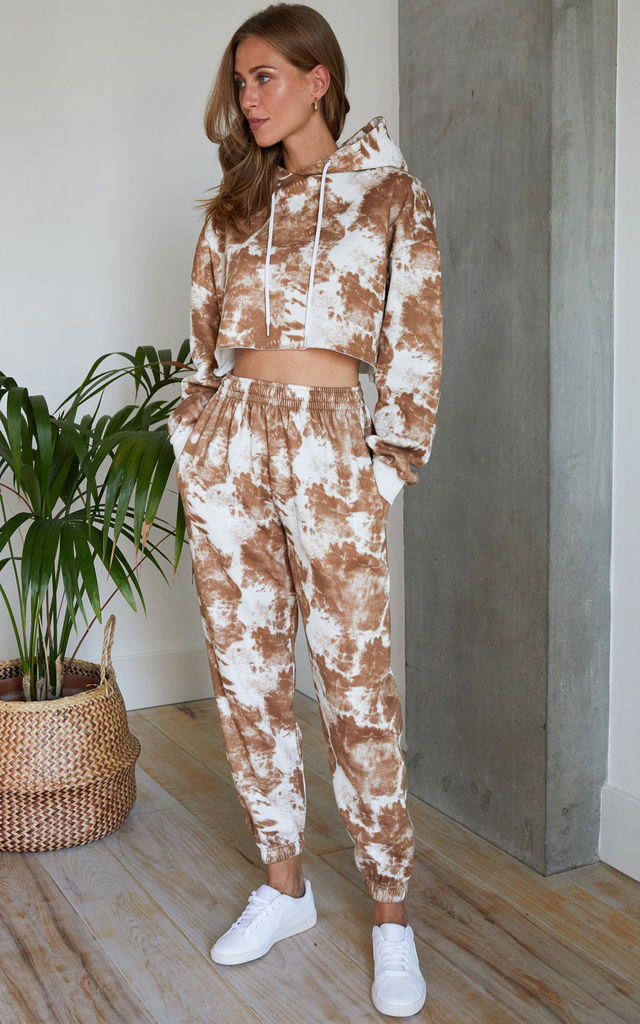 Tie Dye Tracksuit Cropped Hoodie and Jogger in Beige by Hey You