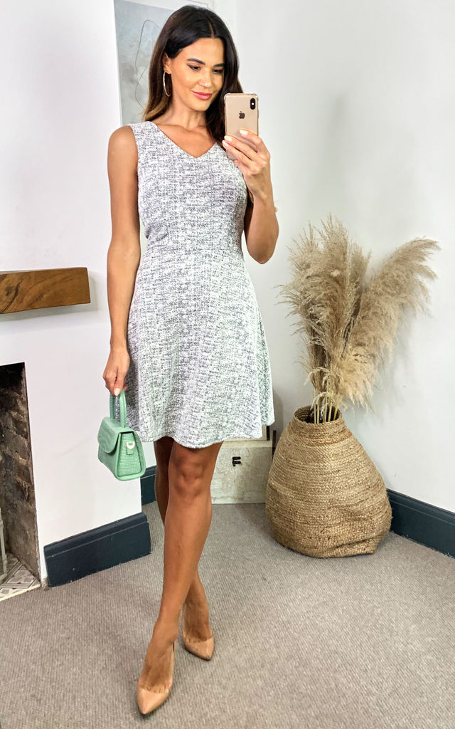 Grey Sleeveless Mini Skater Dress by Mela London
