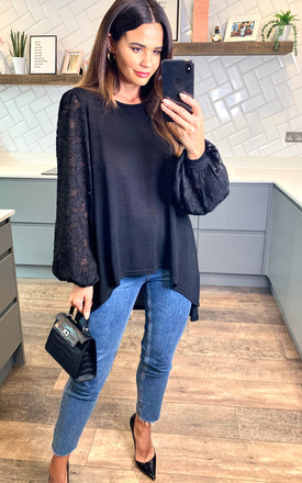 Flora    Hi Low Lace Sleeve Top In Black by Blue Vanilla Product photo