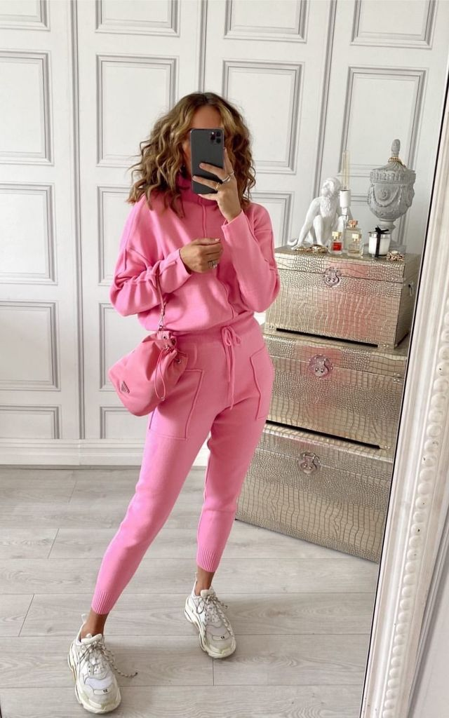KELSEY Pink High Neck Fitted Lounge Set by Glamify