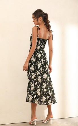 Floral Print Strappy Ruffle Midi Dress In Black by Miss Floral