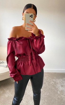 Monique Off Shoulder Satin Top in Wine by IKRUSH