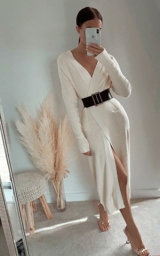 Felicity Longline Knitted Cardigan in Cream by IKRUSH