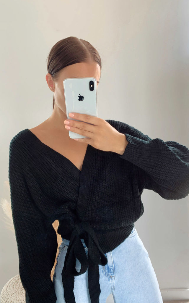 Amie Knitted Wrap Cardigan in Black by IKRUSH