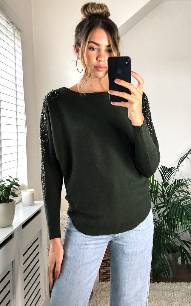 Khaki Oversized Lace Shoulder Batwing Jumper by Gini London