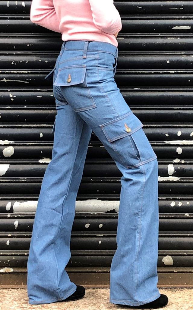 Blue Wide Leg Cargo Jeans by Glamour Outfitters