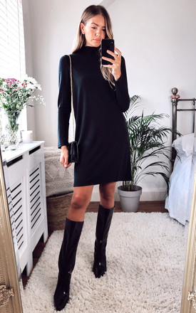 High Neck Long Sleeved Dress In Black by Pieces Product photo