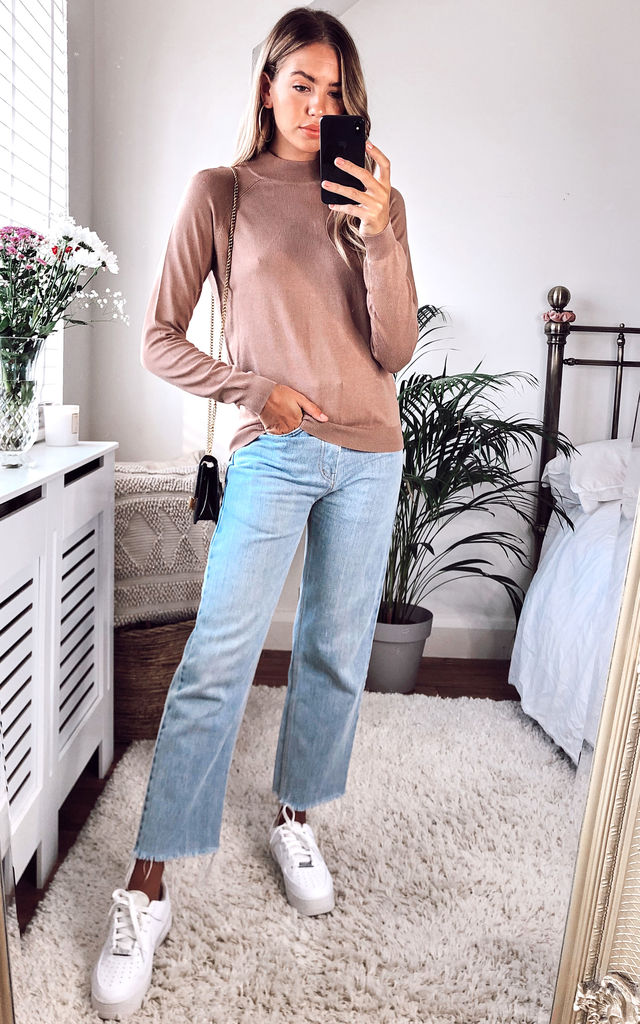 High Neck Knitted Top in Beige by Pieces