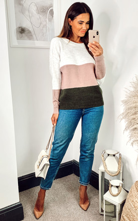 Colour Block Jumper In White, Pink And Green by JDY Product photo