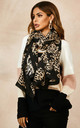 Black Leopard & Star Print Scarf by FS Collection
