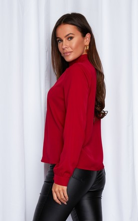 Marissa Keyhole Long Sleeve Blouse Red by Girl In Mind